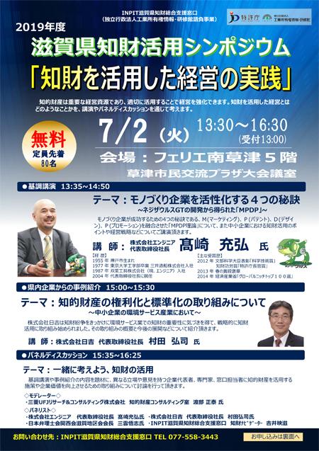 2019年度滋賀県知財活用シンポジウム
